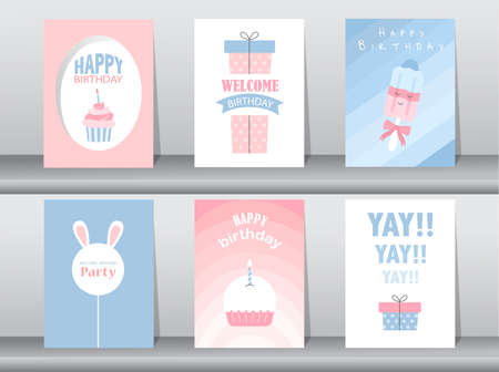 Set of cute birthday cards,poster,template,greeting card,cake,Vector illustrations