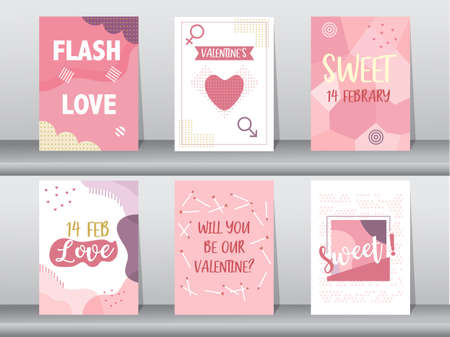 Set of Valentine's day card on retro pattern design,love,cute,Vector illustrations
