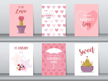 Set of Valentine's day card on cute pattern design,love,Vector illustrations
