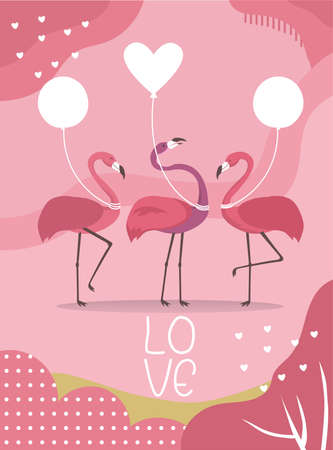 cute animals poster,Design for valentine's day ,template,cards,flamingo,Vector illustrations