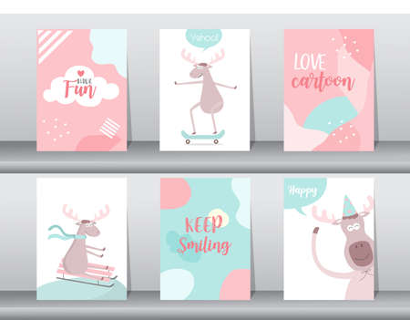 Set of cute animals poster,template,cards,animal,Vector illustrations