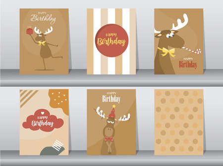 Set of cute birthday cards,poster,template,greeting card,animal,Vector illustrations