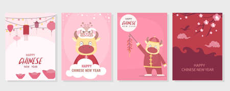 Chinese New Year 2021, the year of the cow,Little asian,cute cards, poster, template, greeting cards, Vector illustrations.