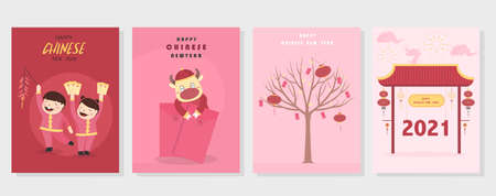 Chinese New Year 2021, the year of the cow,Little asian,cute cards, poster, template, greeting cards, Vector illustrations