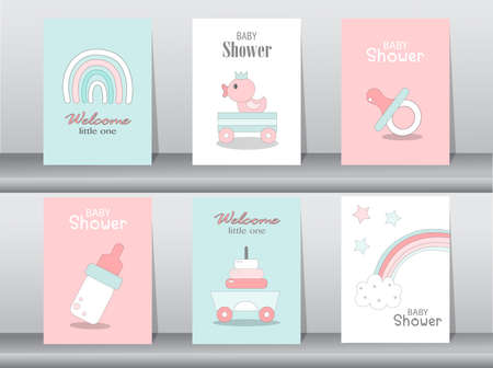 Set of baby shower invitations cards,poster,greeting,template,ducks,Vector illustrations