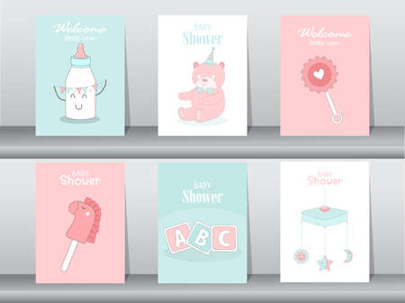 Set of baby shower invitations cards,poster,greeting,template,bears,Vector illustrations Illustration