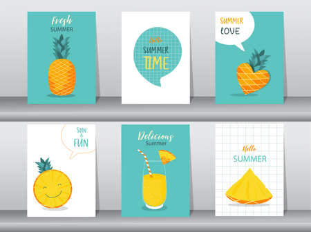Collection set of stories design templates on summer backgrounds,pattern,poster,greeting,cards,fruits,beach,Vector illustration  .