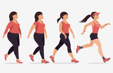 Stages of woman on the way to lose weight,Vector illustrations. Illustration