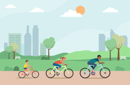Active family riding on bicycles in the park ,Vector illustration. Illustration