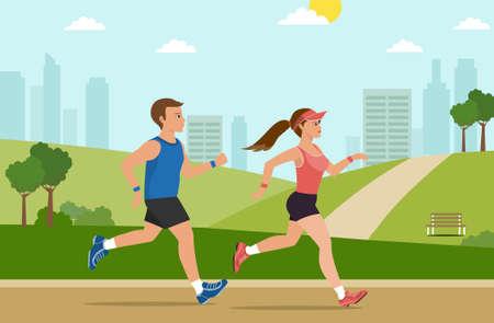 Man and women in park green landscape,jogging outdoor sport workout , Healthy, lifestyle,vector illustration Illustration