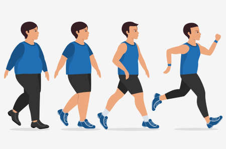Stages of man on the way to lose weight,Vector illustrations. Illustration