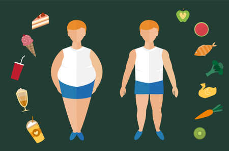 Before and after diet and fitness,Weight loss concept,Fat and thin man,Healthy lifestyle,Vector illustration.