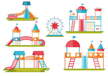 Kids playground, entertainment in the form of horizontal bars and swings,children's toys,slide, Vector illustrations.