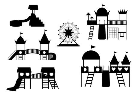 Set of silhouettes kids playground, entertainment in the form of horizontal bars and swings,children's toys,slide, Vector illustrations.