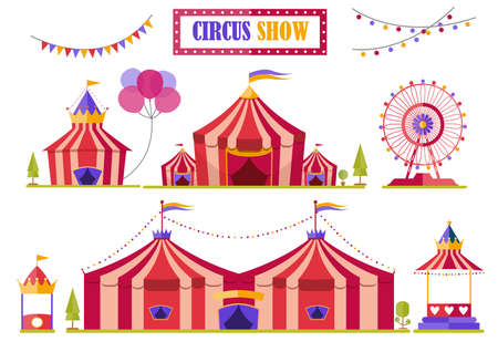 Set of circus tent marquee with stripes and flags isolated,Ferris Wheel,Vector illustrations.