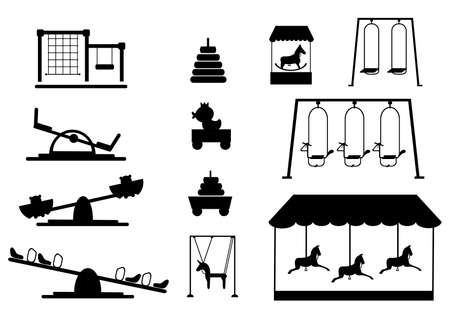 Set of silhouettes slide,radical rotator, carousel fooling around, having fun in fine good mood,Vector illustrations.