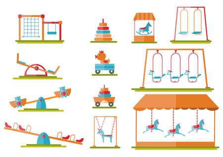 Set of slide,radical rotator, carousel fooling around, having fun in fine good mood,Vector illustrations. Illustration