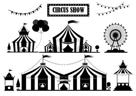 Set of silhouettes circus tent marquee with stripes and flags isolated,Ferris Wheel,Vector illustrations.