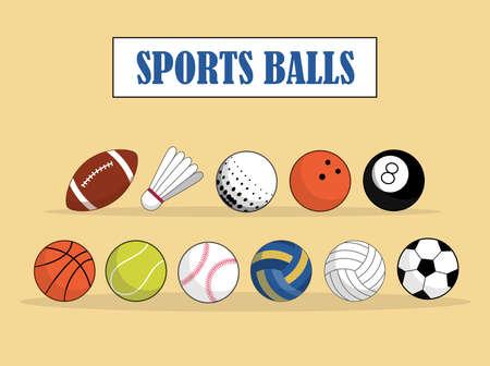 Set of Sport and games ball for volleyball baseball tennis football  bambinton basketball rugby balls vector illustrations.