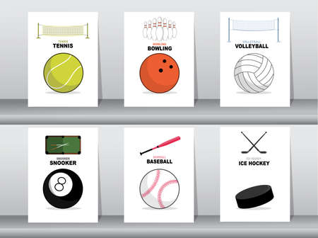 Set of Sport and games ball with element,goals, vector illustrations. Illustration