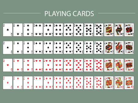 Set of Poker with isolated cards.playing cards, full deck,Vector illustrations.