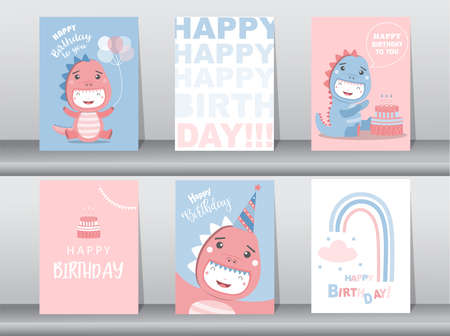 Set of cute  birthday cards,poster,template,greeting cards,animals,dinosaurs,Vector illustrations. Illustration