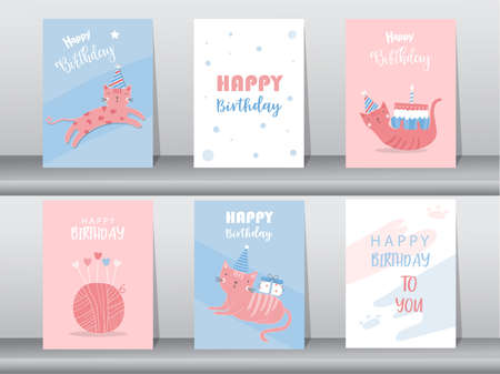 Set of birthday cards,poster,invitation card,template,greeting cards,animals,cat,cute,Vector illustrations. Illustration