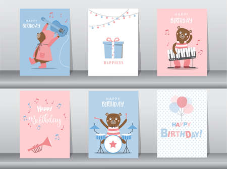 Set of birthday cards,poster,invitation card,template,greeting cards,animals,bears,cute,Vector illustrations.