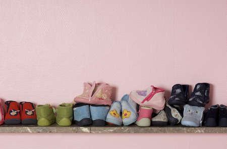 shelve: Old shoes on a shelve