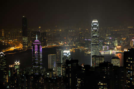 Night scene of Hong Kong, you can see the pollution Stock Photo - 4215401