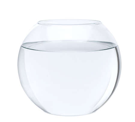 Empty fish bowl with water in front of white background, studio shot Stock Photo - 5912281