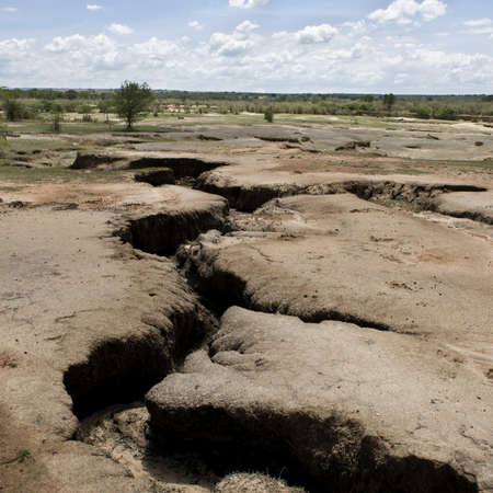 Dry and cracked African landscape, Tanzania, Africa photo