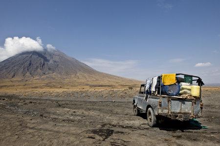 Tanzania volcano, old abandoned car, Ol Doinyo Lengai, Tanzania photo