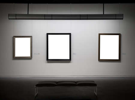 art museum: Empty frames in a museum