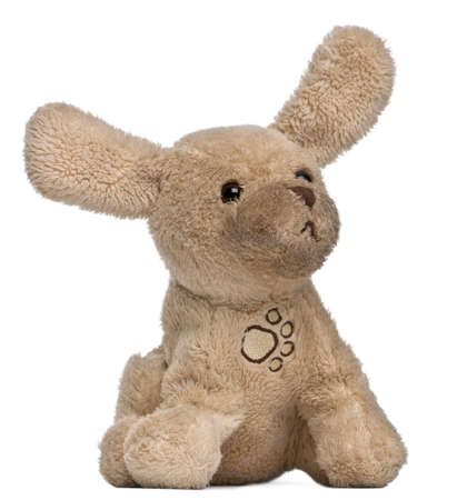 Brown stuffed animal in front of white background photo