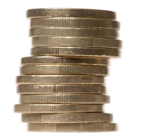 Stack of 2 Euros Coins in front of white background Stock Photo - 9563371