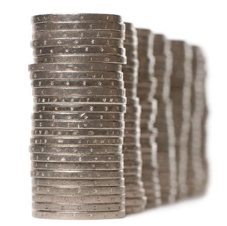 Stacks of 2 Euros Coins in front of white background photo