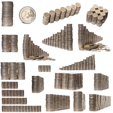 Collage of stacks of 2 Euros Coins in front of white background photo