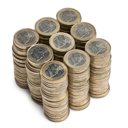 Stacks of 1 Euros Coins in front of white background photo
