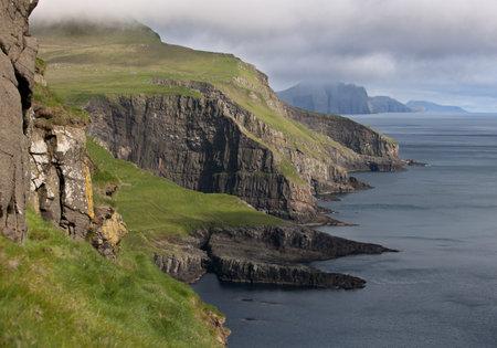 denmark: Scenic view of coast of Mykines, Faroe Islands