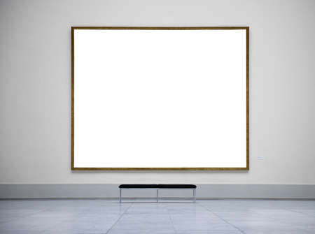 Blank picture frame in empty gallery photo
