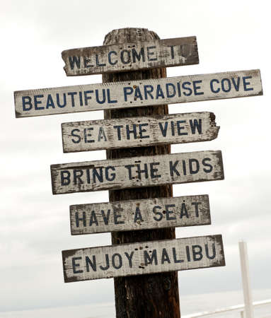 western script: Sign on Malibu beach, Los Angeles, California, USA