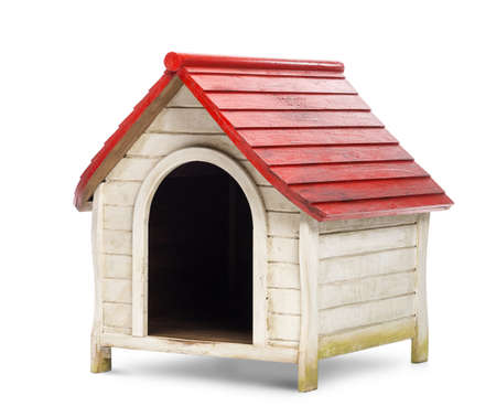 kennel: Red and white kennel against white background Stock Photo