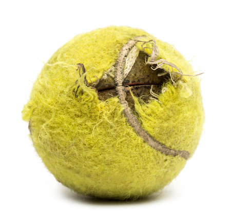 Chewed tennis ball against white background photo