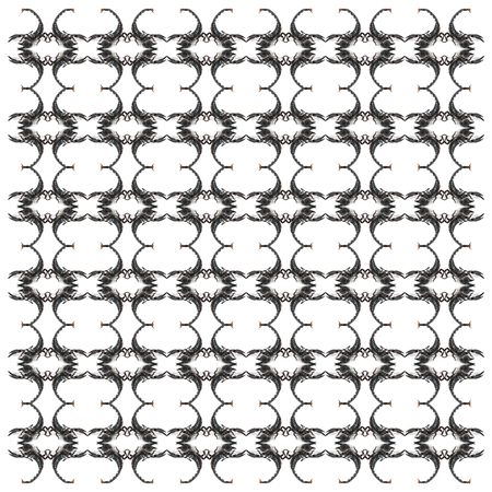 Emperor Scorpion, Pandinus imperator, in repeated pattern, in front of white background Standard-Bild - 111477721