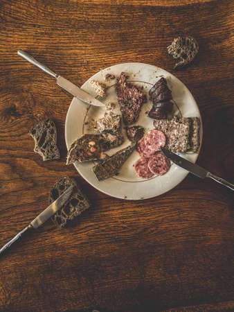 Top view on a french charcuterie assortment, sausage, rillettes, blood sausage 版權商用圖片 - 160764958