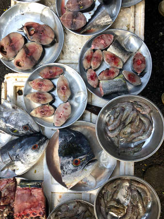 Top view on an assortment loose fish to sale at a fish market, Hue Market, Vietnam