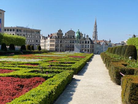 Brussels, Belgium, April 25, 2020 - deserted parc Mont des arts during Confinement covid-19, Bright spring day