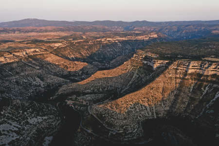 Aerial view of Gorges la Vis Valley and Navacelles circus in Cevennes National Park, Southern France