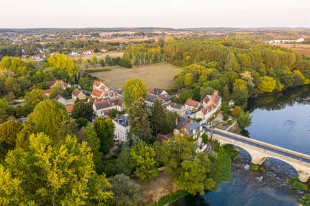 Aerial view of Saint-aignan-sur-cher, old castel and river the Cher, in the loir-et-cher